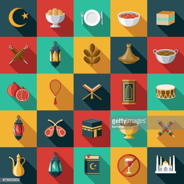 ramadan flat design icon set - fasting activity stock illustrations, clip art, cartoons, & icons