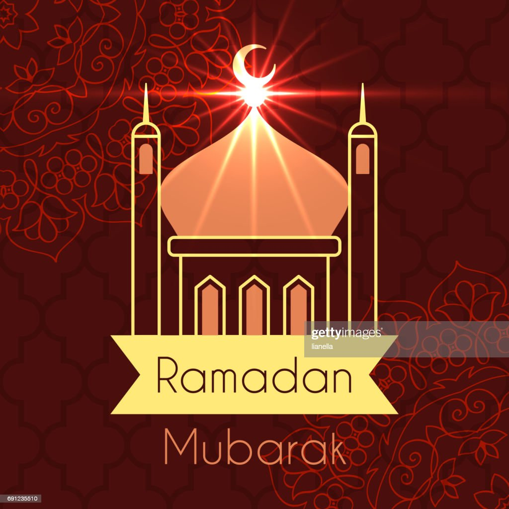 Ramadan Greeting Card For Celebration Of Holy Month Vector Dark