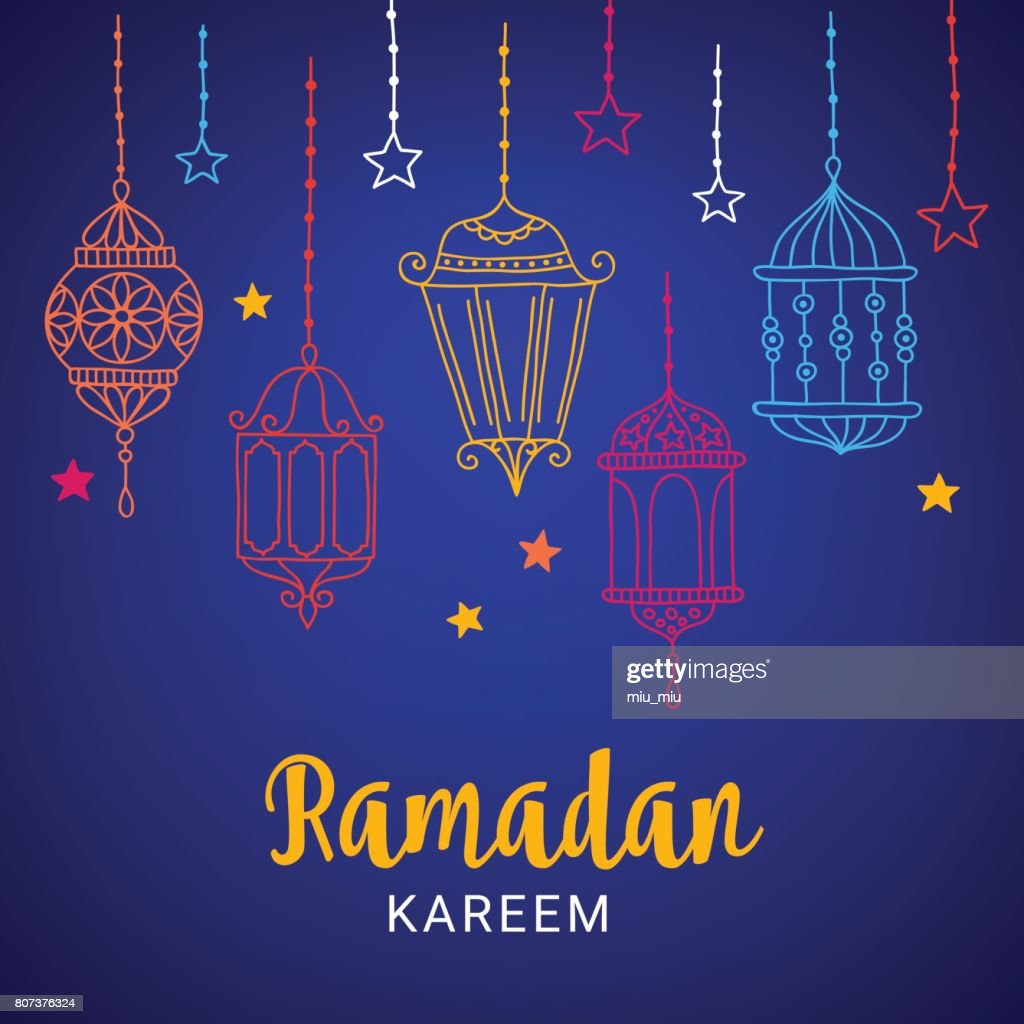 Ramadan Greeting Card With Lanterns And Stars Vector Art Getty Images