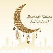 Ramadan greeting card with moon and arabic lamps. Vector