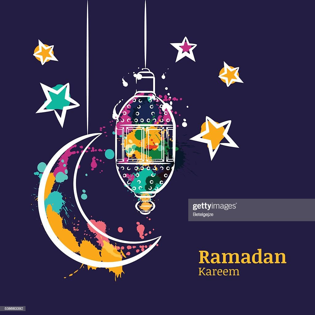 Ramadan Greeting Card With Watercolor Lantern Moon And Stars Vector