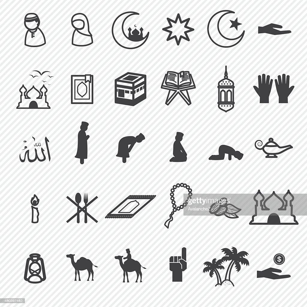 ramadan icons set.illustration eps10.