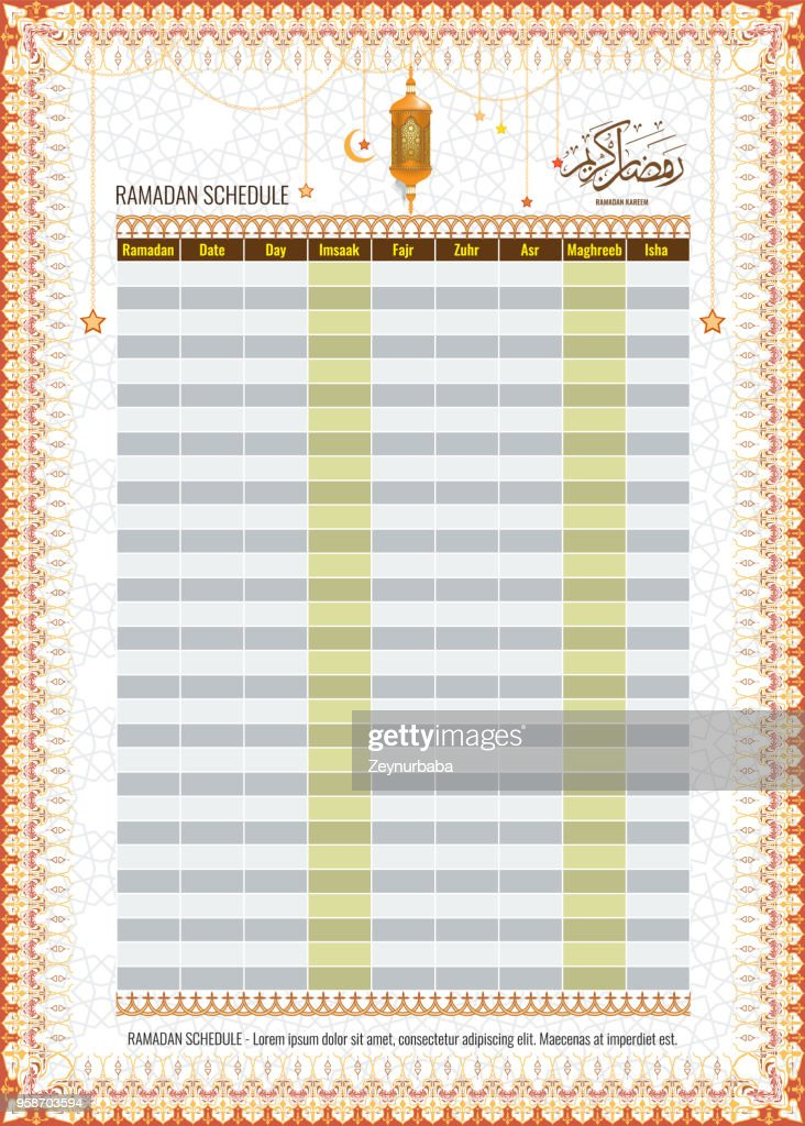 Ramadan Imsakia or Amsakah Calendar Schedule - Fasting and Prayer time Guide
