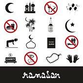 ramadan islam holiday black icons set eps10