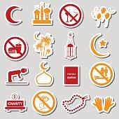 ramadan islam holiday color stickers set eps10