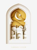 Ramadan Kareem 3d abstract paper cut illustration. Window with islamic mosque. moon and gold sky.