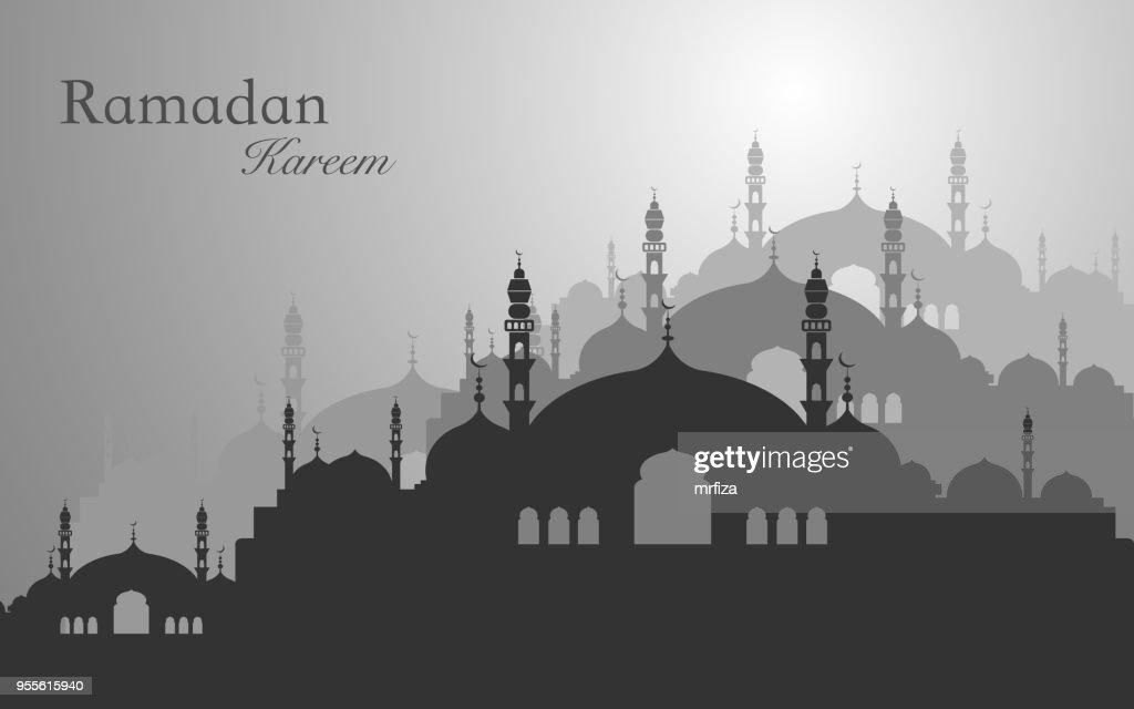 Ramadan kareem and Eid mubarak greeting concept. Silhouette mosque vector.