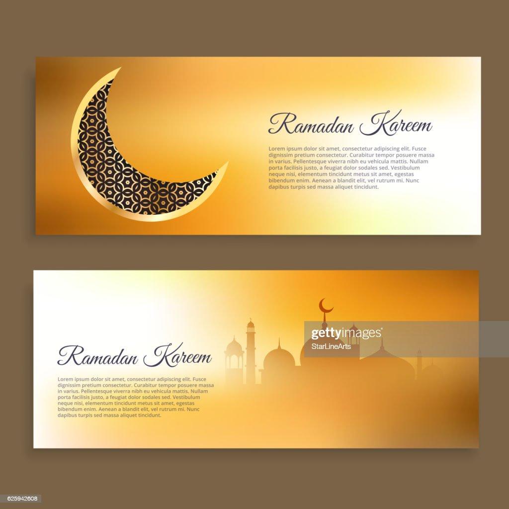 ramadan kareem and wid banners in golden colors