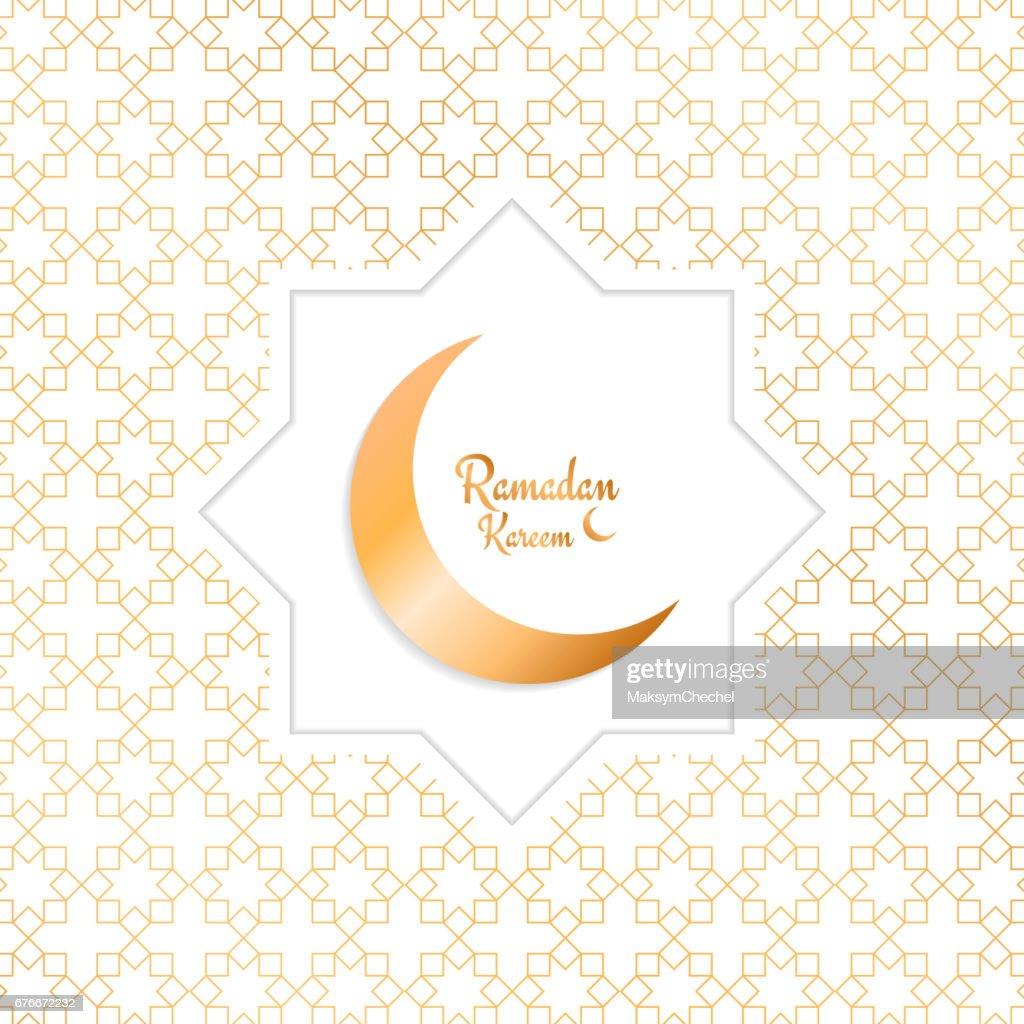 Ramadan Kareem. Arabian background with moon, gold pattern and typography