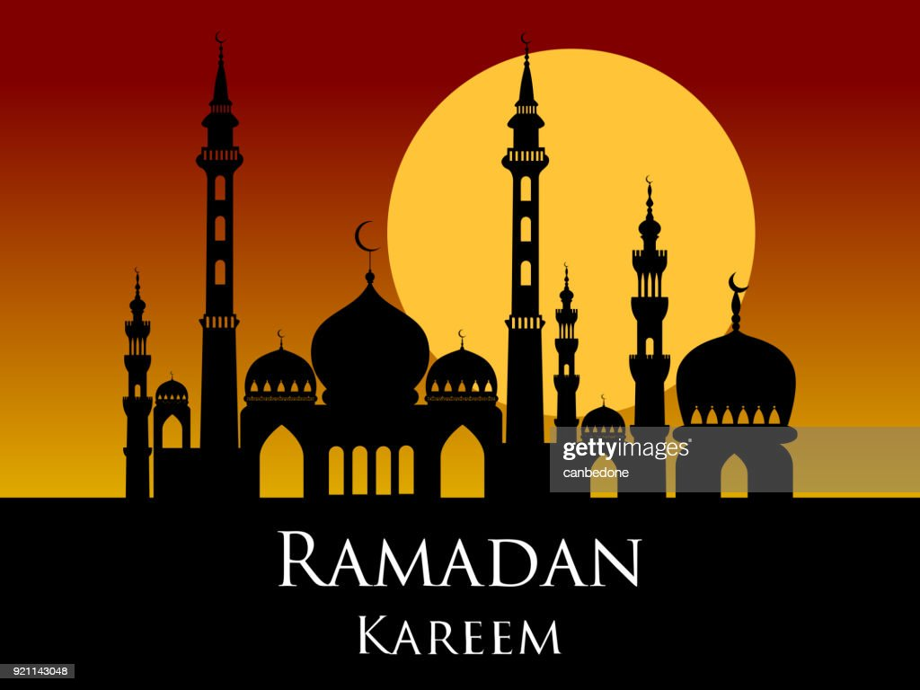 Ramadan kareem arabic mosque silhouette sunset sunrise background