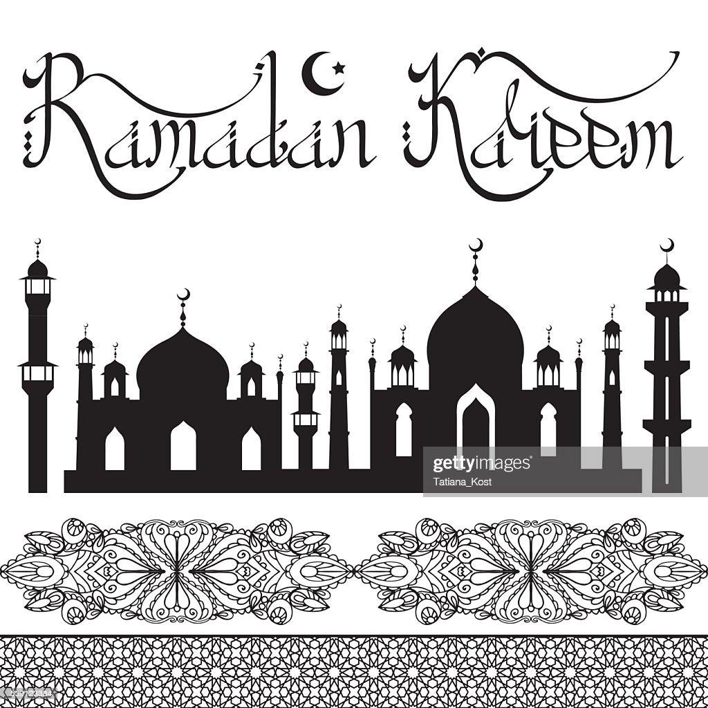 Ramadan Kareem .Arabic style lettering,mosque,pattern borders