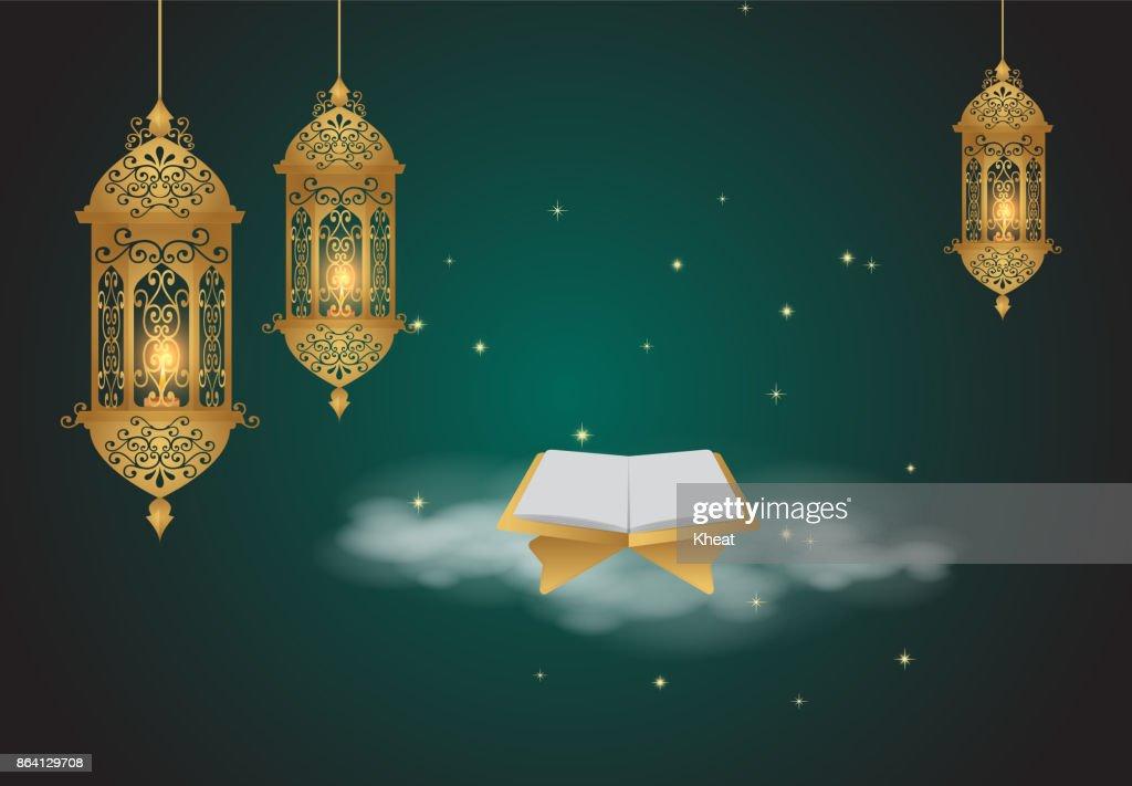 Ramadan Kareem background. Golden Lantern Arabic style
