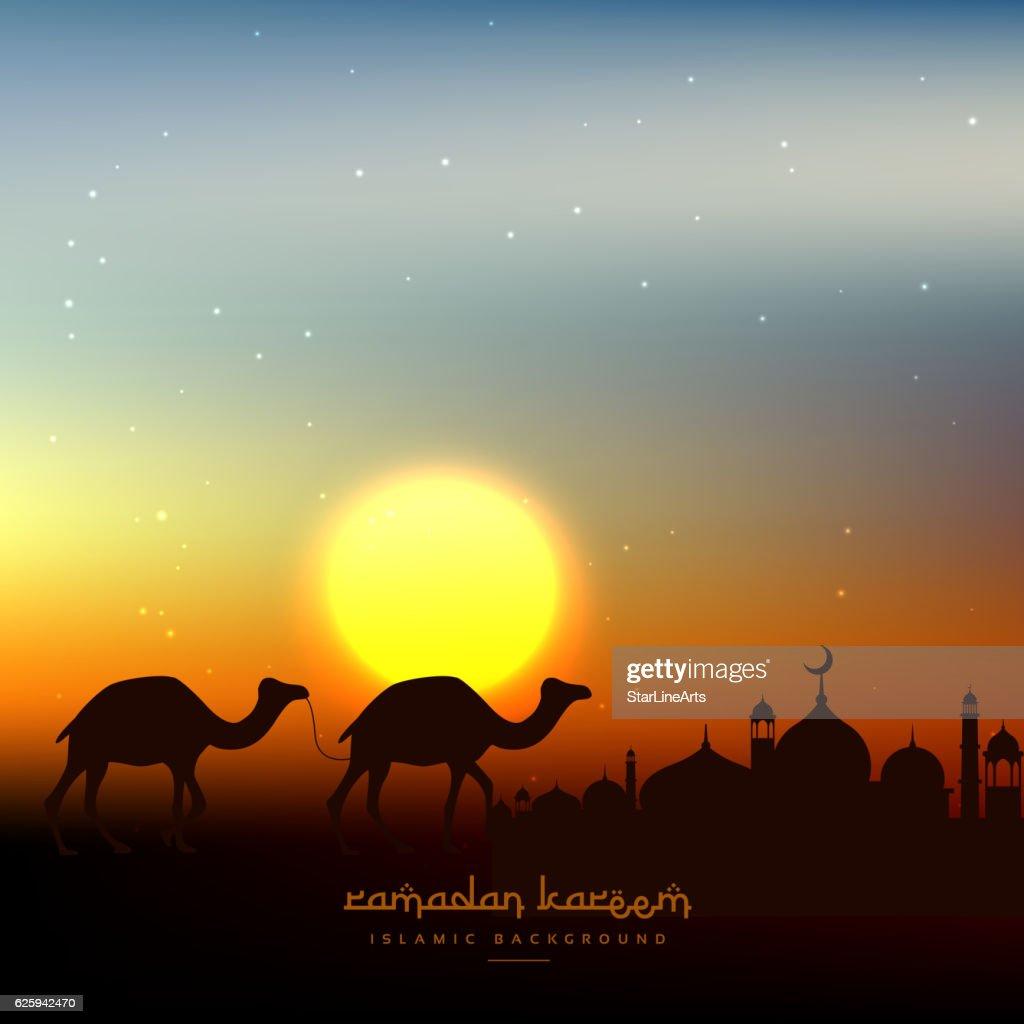 ramadan kareem background in evening sky with sun
