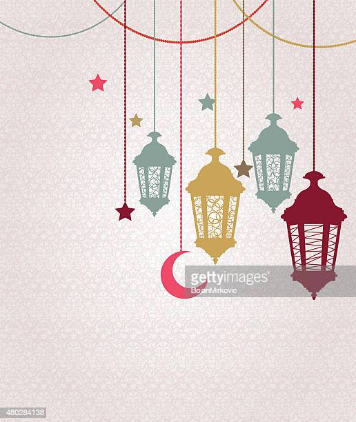 ramadan kareem background with hanging lamps and stars - eid ul fitr stock illustrations