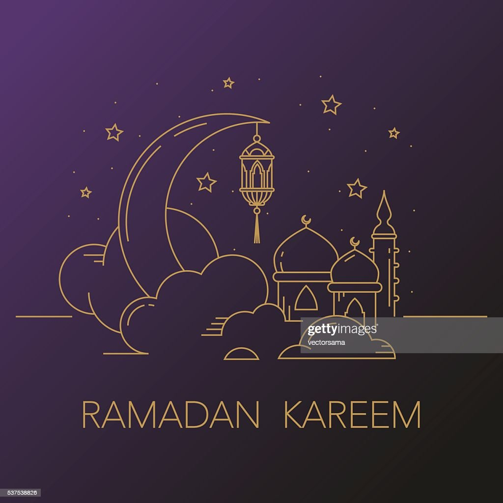 Ramadan Kareem background with moon, lantern, mosque in the clouds.