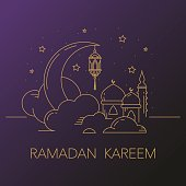 Ramadan Kareem Background With Moon Lantern Mosque In The Clouds