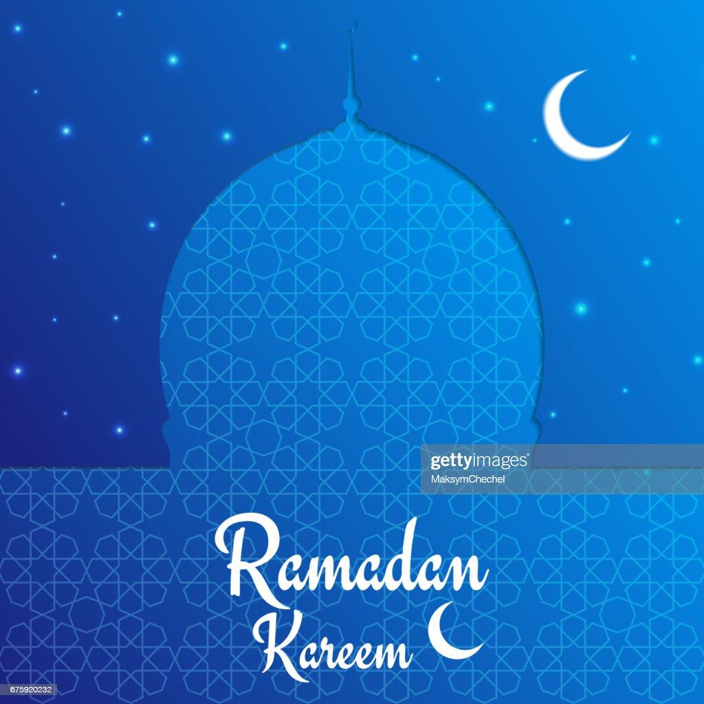 Ramadan Kareem card. Arabian background with mosque, shiny stars, moonand typography