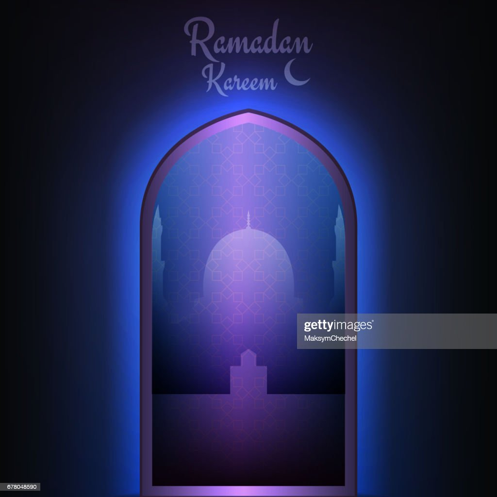 Ramadan Kareem card. Islamic mosque with sacred lights