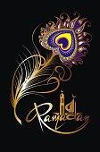 Ramadan Kareem card with feather