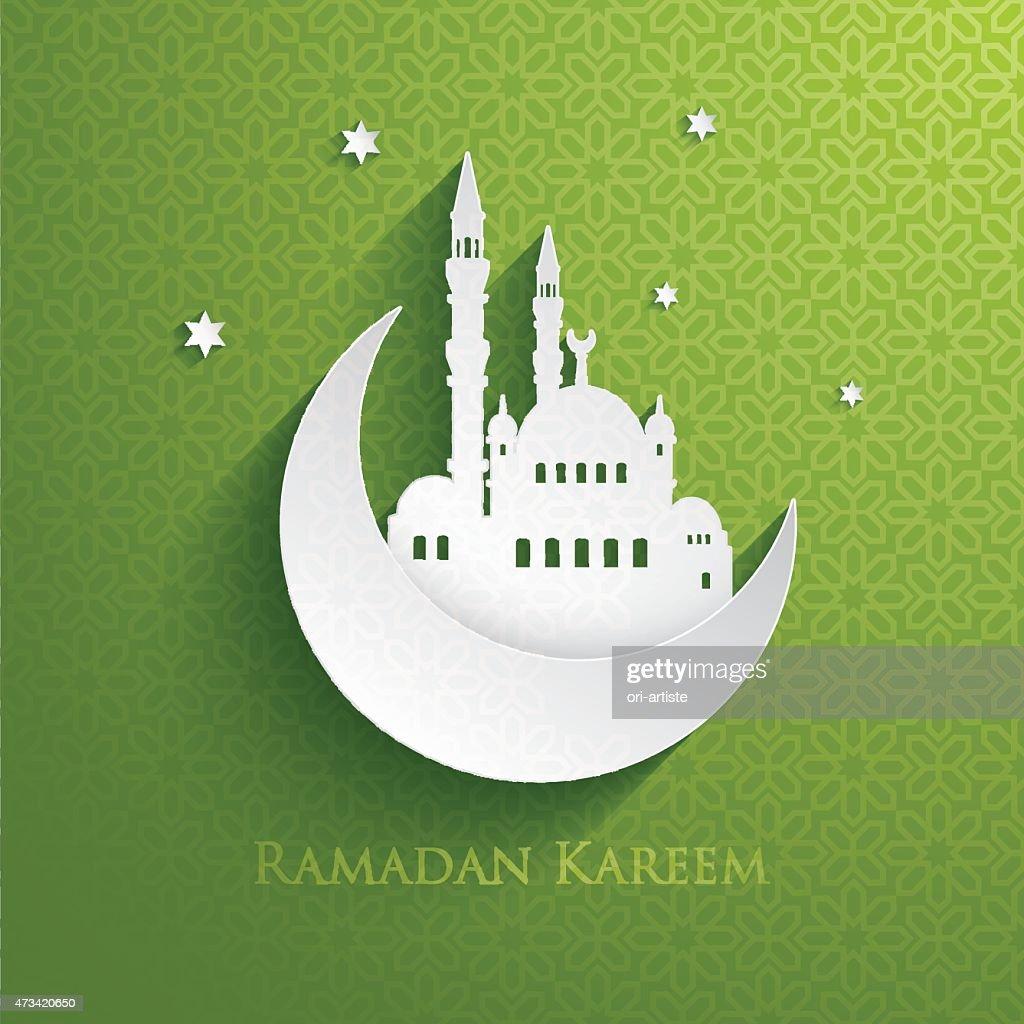 Ramadan Kareem card with green background