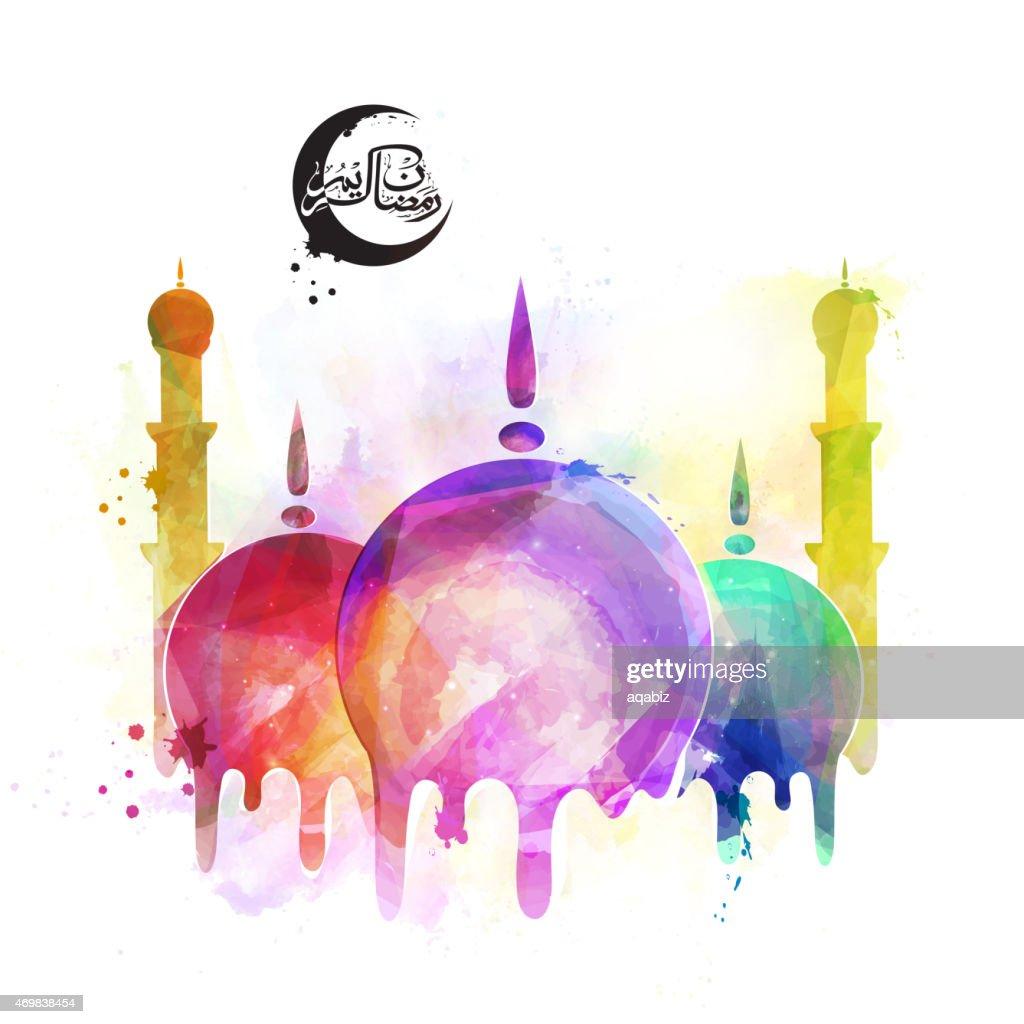 Ramadan Kareem celebration with islamic mosque.
