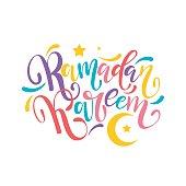 Ramadan Kareem colorful hand drawn lettering