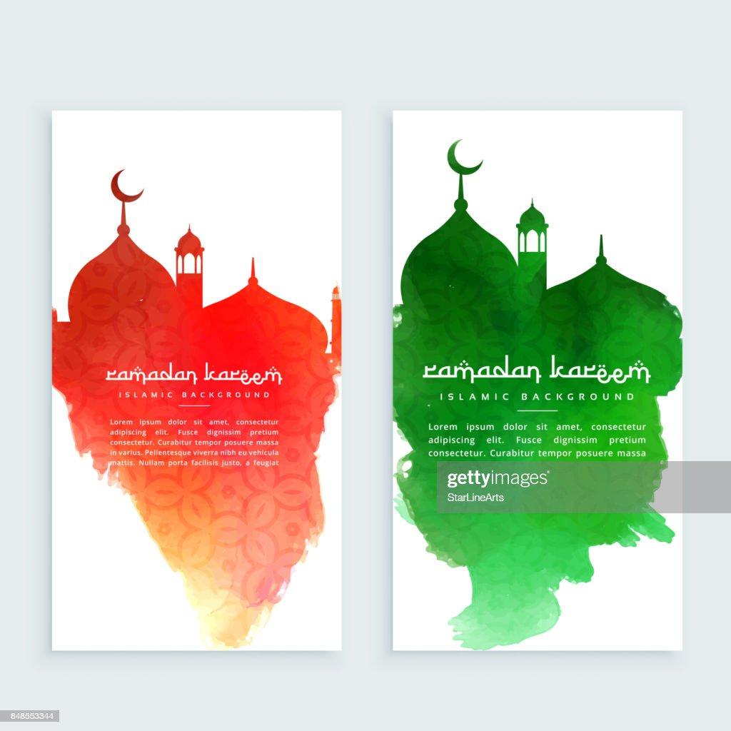 ramadan kareem colorful vertical banners