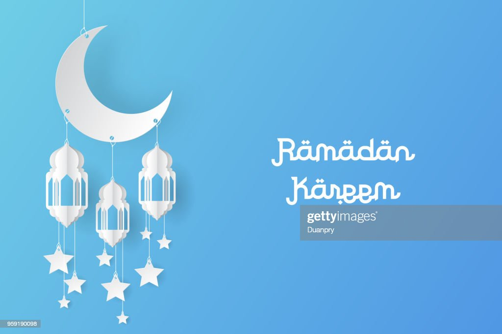 Ramadan kareem design background paper art. vector illustration