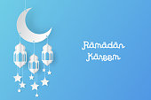 Ramadan kareem design background paper art. vector illustration