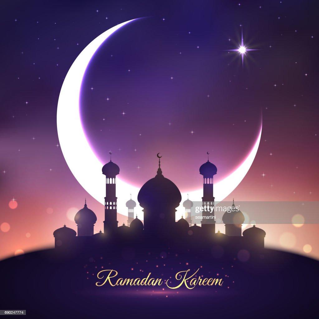 Ramadan Kareem Eid Mubarak Greeting Card Design Vector Art Getty