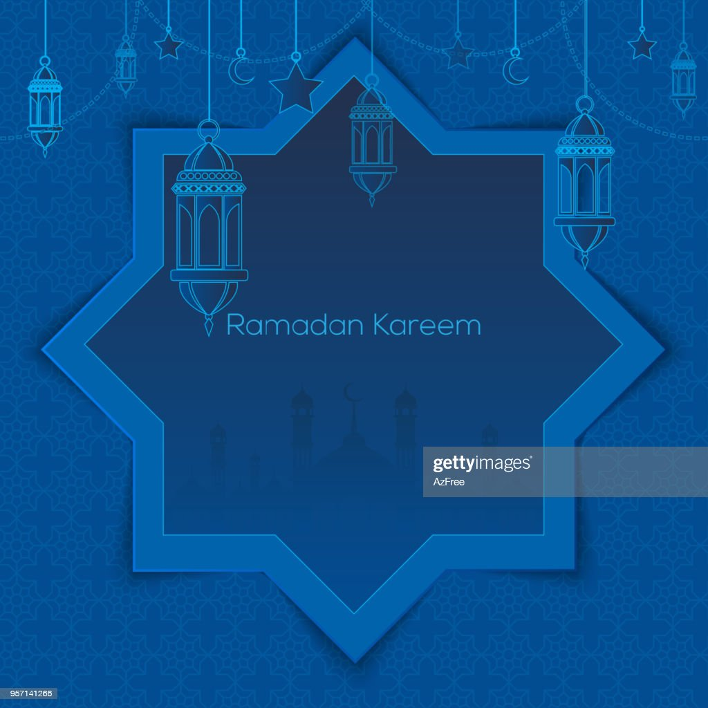 Ramadan Kareem greeting card with islamic lantern crescent and arabic ornament. Vector