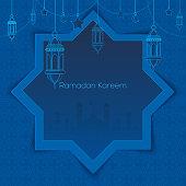 Ramadan Kareem greeting card with islamic lantern crescent and arabic ornament. Vector