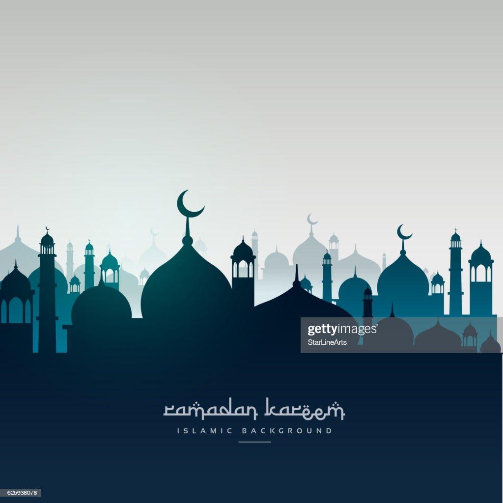 ramadan kareem greeting card with mosques