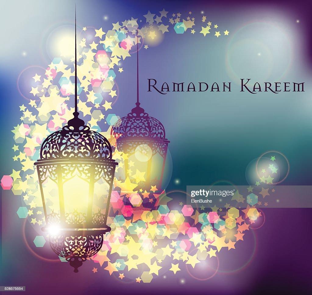 Ramadan Kareem greeting on blurred background illuminated arabic lamp