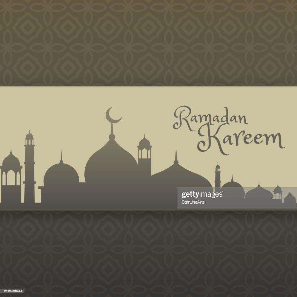 ramadan kareem greeting with mosque silhouette