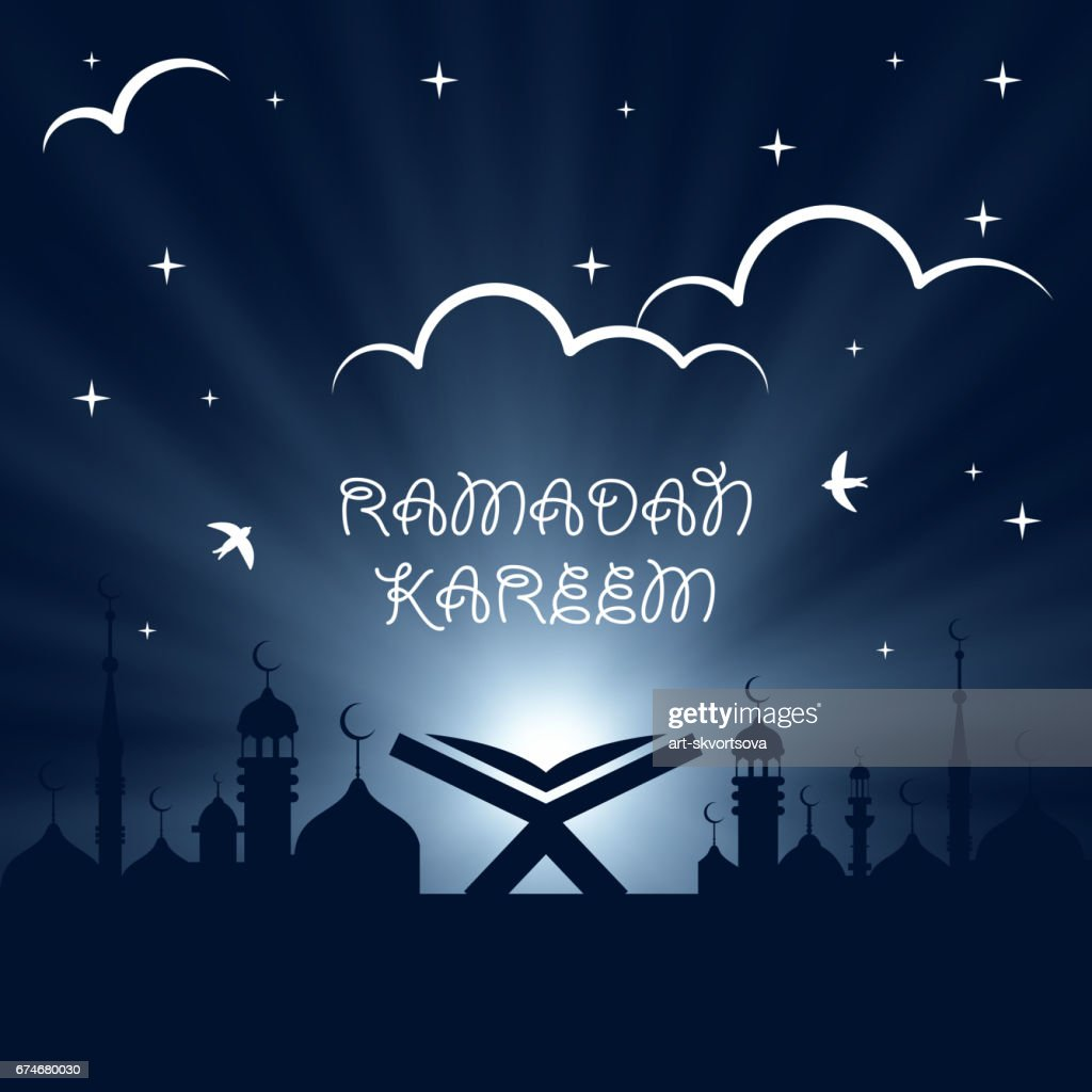 Ramadan Kareem holiday celebration beautiful greeting card background. Islamic design. Eid Mubarak. Open religious book Quran Shareef on mosque background. Night. Old book on stand. Koran. Arab design