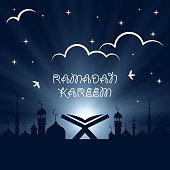 Ramadan Kareem holiday celebration beautiful greeting card background. Islamic design. Eid Mubarak. Open religious book Quran Shareef on mosque background. Night. Old book on stand. Koran. Arab design