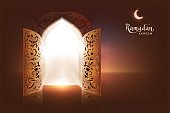 Ramadan Kareem lettering text greeting card. Open door to mosque and moon
