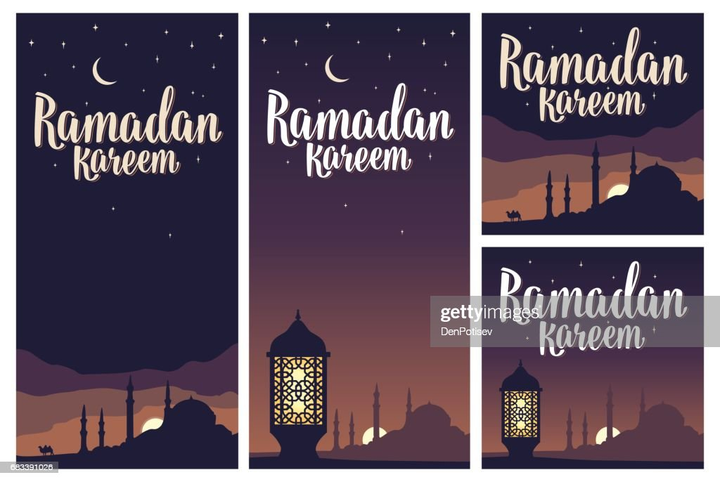 Ramadan kareem lettering with lamp, minarets, crescent, star in sky.