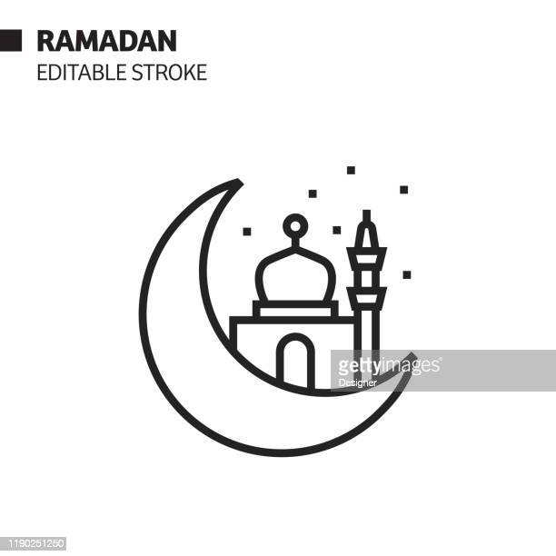 ramadan kareem line icon, outline vector symbol illustration. pixel perfect, editable stroke. - eid ul fitr stock illustrations
