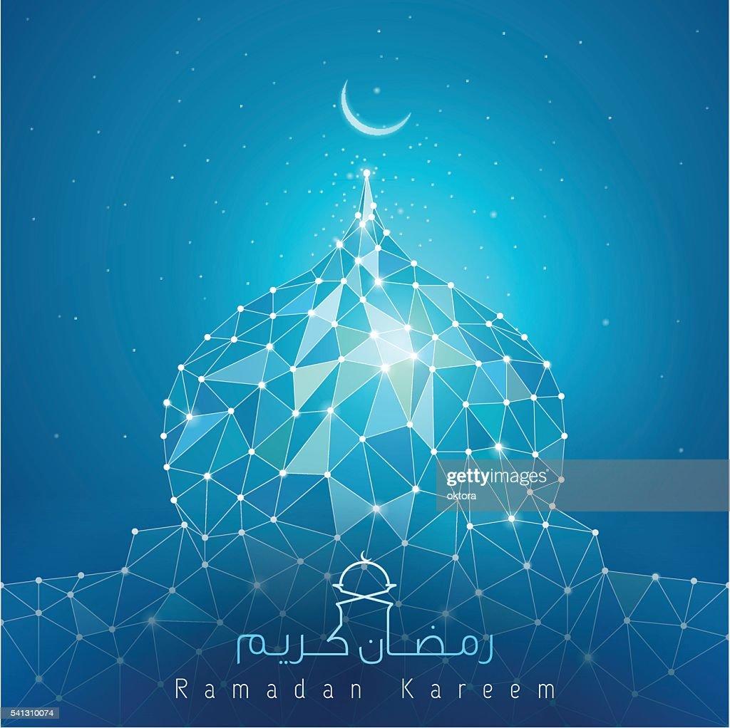 ramadan kareem line mosque dome mosaic for greeting