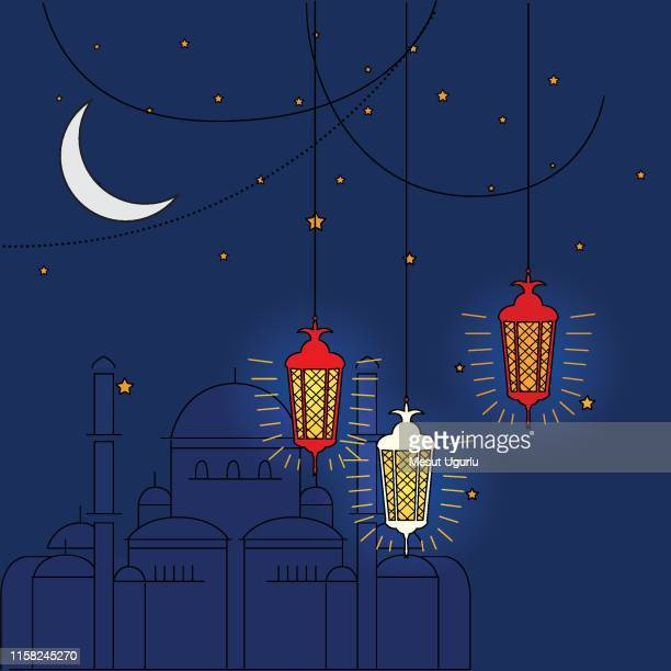 ramadan kareem night banner - tradition stock illustrations