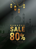 Ramadan Kareem sale offer banner design with ornament lantern moon background for promotion poster, discount, up to 80% off, web header and banner, greeting card of eid Mubarak, vector illustration