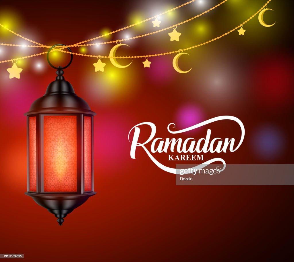 Ramadan kareem vector design with hanging lantern or fanoos