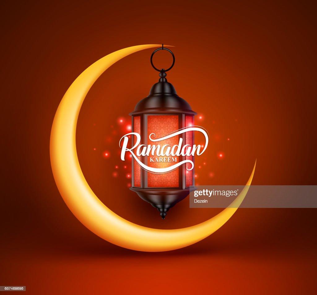 Ramadan kareem vector greetings design with lantern or fanoos hanging