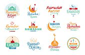 Ramadan kareem. Vector typographic design set