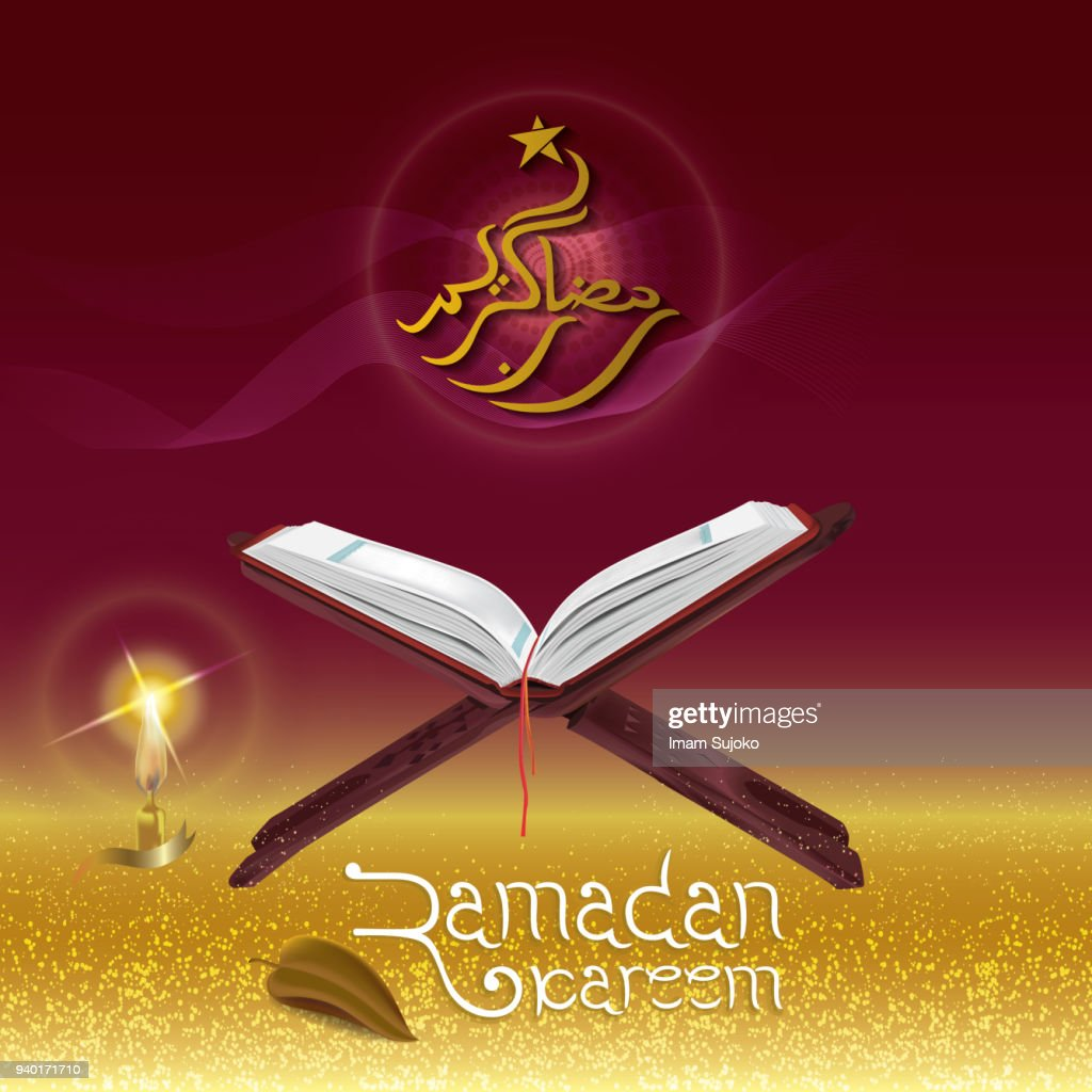 Ramadan Kareem with illustrations Quran and lanterns