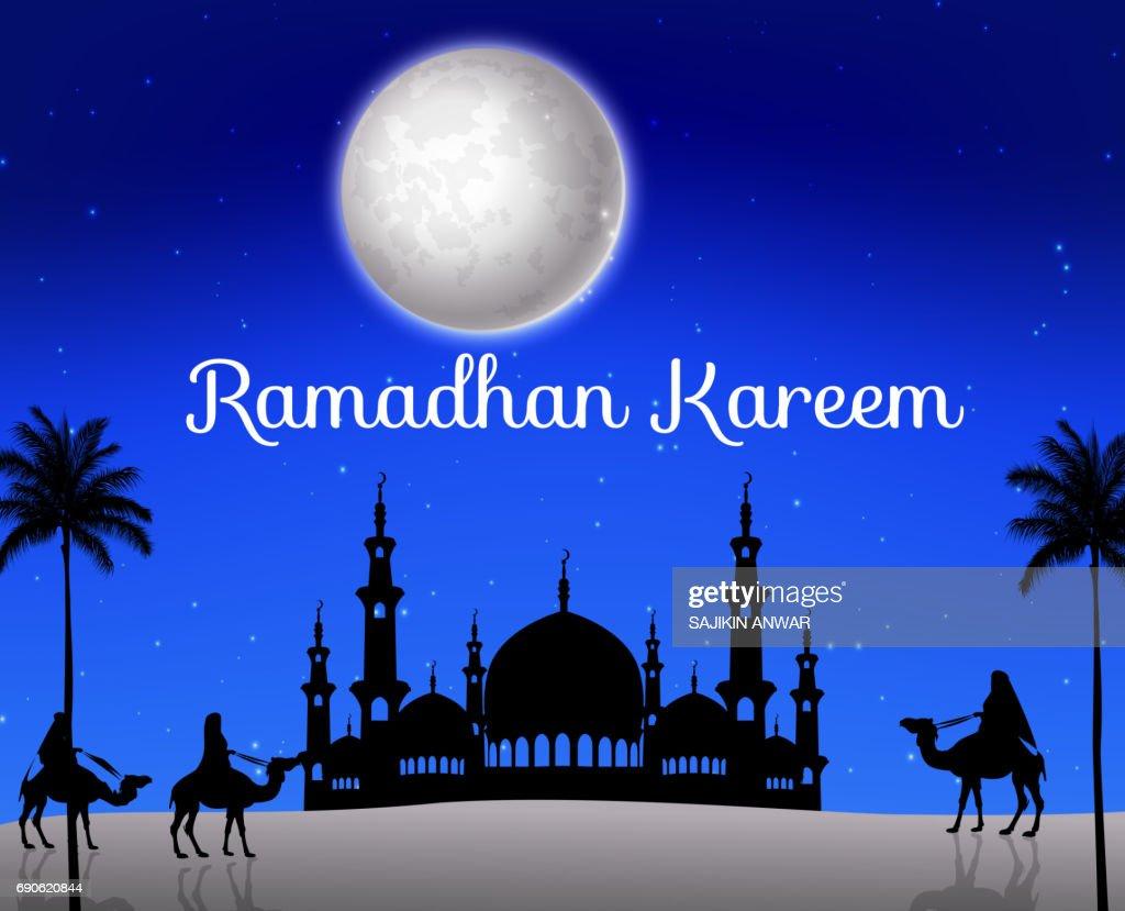 Ramadan kareem with walking camel caravan and silhouette mosque