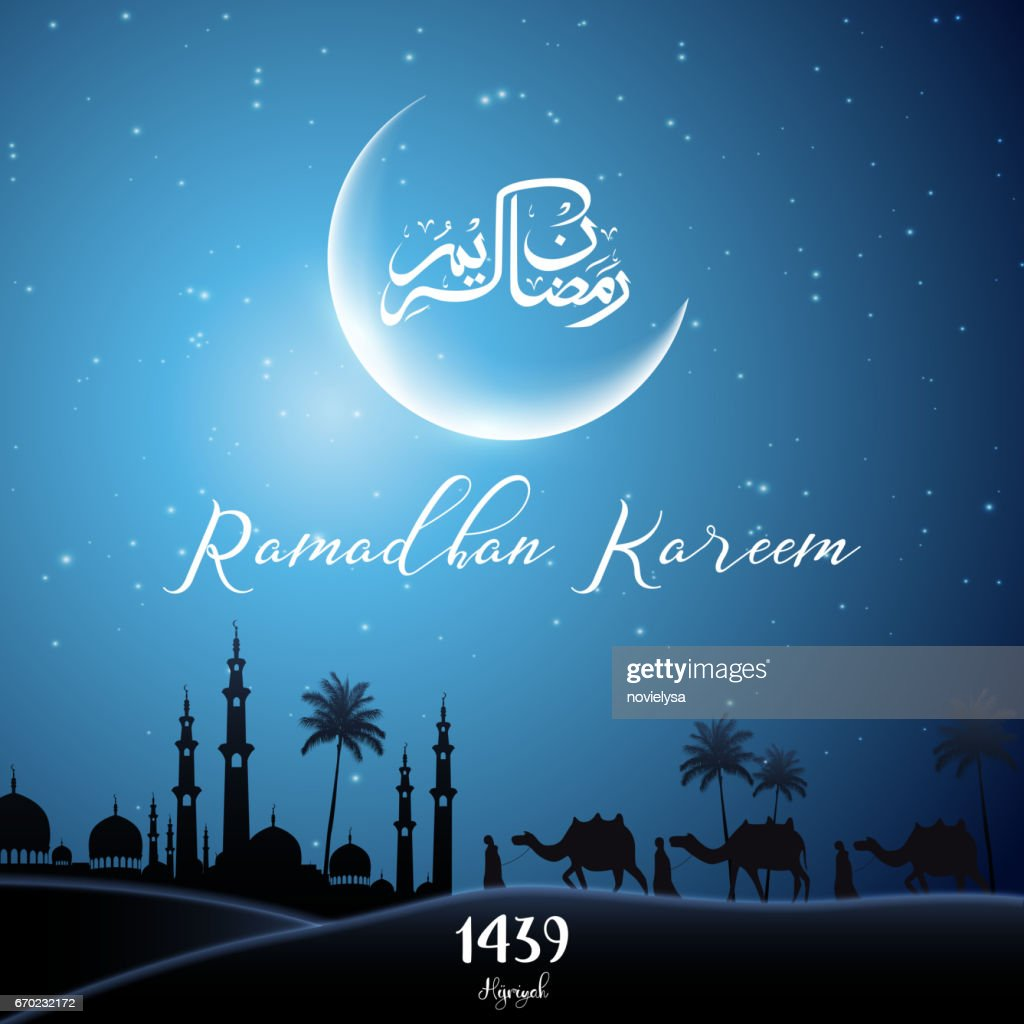 Ramadan kareem with walking camel caravan at night day