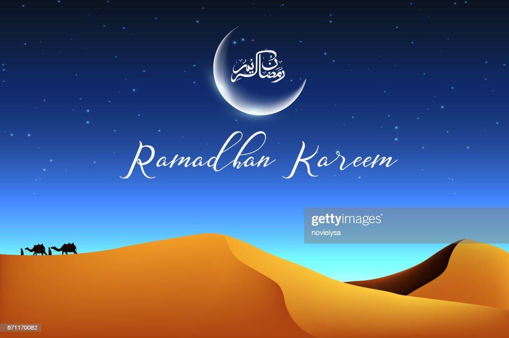 Ramadan kareem with walking camel caravan at night the desert